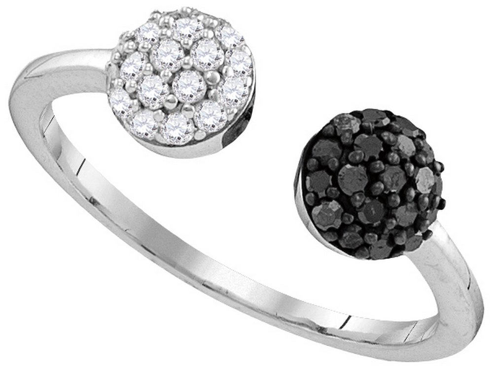 Size 11 - 925 Sterling Silver Round Black Diamond Bisected Cluster Band Ring (1/3 Cttw)
