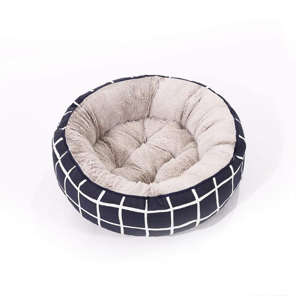 L DUHUI Round striped canvas pet bed, cat litter kennel (Size   L)