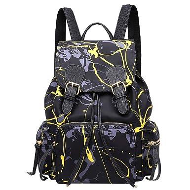 578766c936ce1 LOLIANNI Damen Weiches Leder Casual Fashion Madchen Nylon Graffiti  Handtaschen Rucksack Frauen Vintage Laptop Lässiger Daypacks