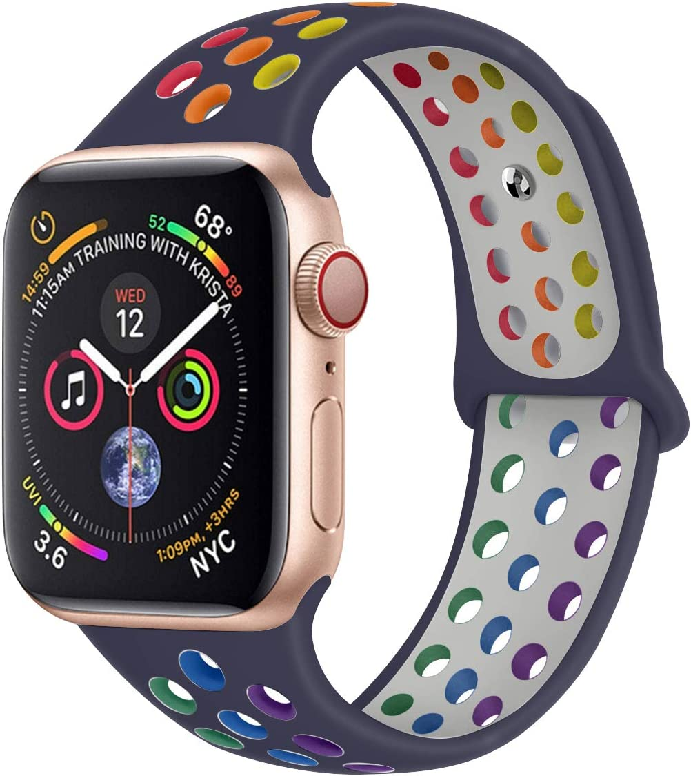 Ankersaila バンド 対応 Apple Watch,アップルウォッチ 用スポーツ型シリコン交換バンド Compatible with iWatch Series 6/SE/5/4/3/2/1 (42mm/44mm, 海軍/マルチカラー)