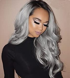 c479966c6 Grey Ombre Human Hair Wigs 150% Density Brazilian Lace Front Wig Full Lace  Wigs With