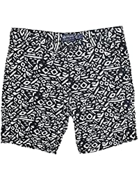 White Mens Geometric Print Shorts