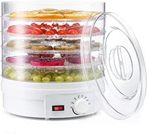 Electric 350W Food-Dehydrator Machine-Countertop - with 5 Trays for Fruit Vegetable Meat Beef Jerky Maker (White)