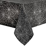 Benson Mills Twinkle Halloween Spider Web Fabric Metallic Tablecloth (Black, 52'' x 52'' Square)
