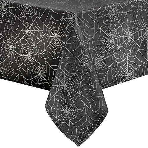 Halloween Spider Web Fabric Metallic Tablecloth (Black, 52