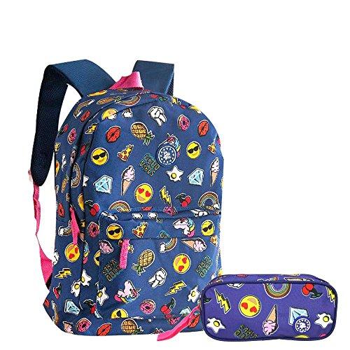 Kit Escolar Mochila Emojis Unicornio + Estojo Azul - Clio Girl