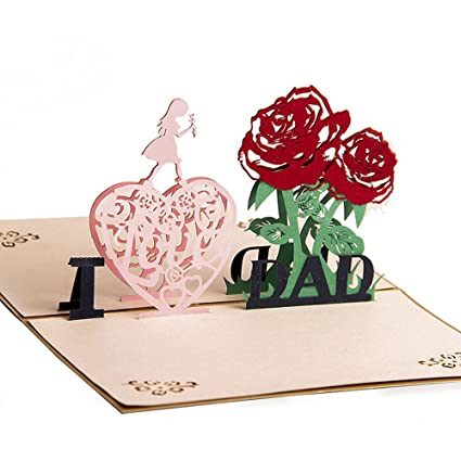 3D Pop Up Cards Happy Mother/'s Day I Love You Mom Heart Flowers Birthday Gift