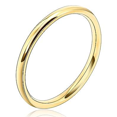 Beydodo Edelstahl Damen Ring 2mm Vergoldet Klassisch Kreis Ring