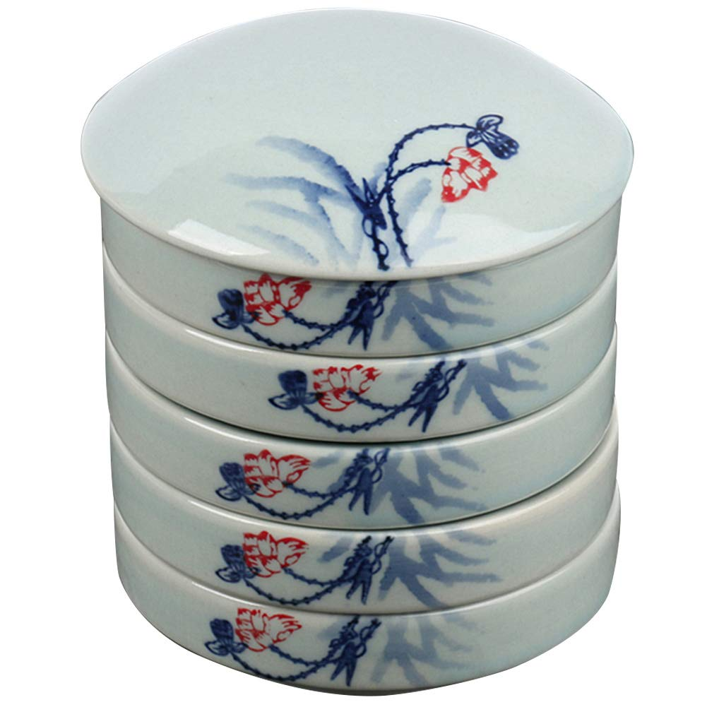 Loghot Porcelain Chinese Painting 5-Layer Stackable Paint Mixing Trays Ceramic Round Watercolor Palette Set (Lotus)
