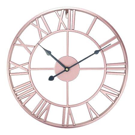 Ufengke Horloge Murale Metal Grande Vintage Européen Pendule Quartz Deco Chiffre Romain Or Rose Silencieuse Pour Salon Chambre Diamètre 40cm