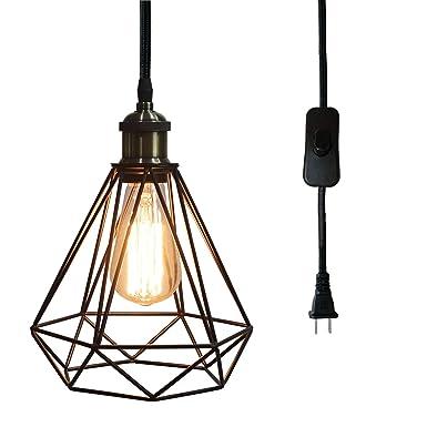 Amazon.com: Riomasee - Lámpara colgante de alambre de ...