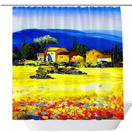 - BT World Oil Painting Shower Curtain Flower House and Mountain, Fabric Bathroom Decor Shower Curtain Set with Hook, 71X 71 in