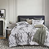 Wake In Cloud - Marble Comforter Set Queen, 3-Piece Gray Grey Black and White Pattern Printed, Soft Microfiber Bedding (3pcs, Queen Size)