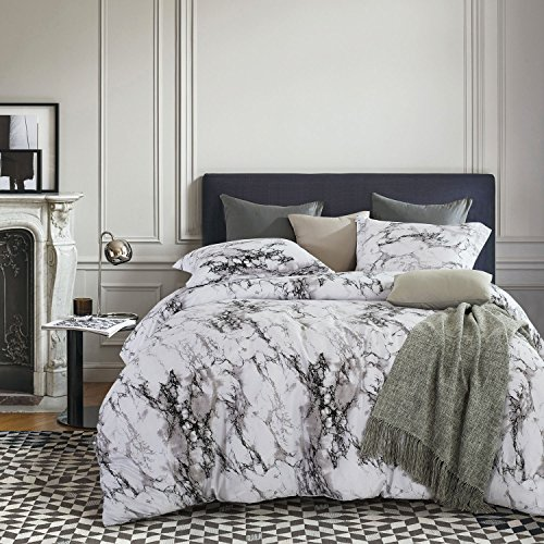 Marble Duvet Cover Set, Black White and Gray Grey Modern Pattern Printed, Soft Microfiber Bedding with Zipper Closure (3pcs, King Size)