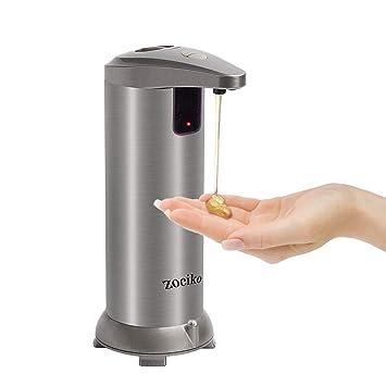 zociko Dispensador de Jabón Automático, Dispensador de líquidos Dispensador automático de jabón de Acero Inoxidable Touchless con Base Impermeable para ...