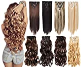 (US) 7Pcs 16 Clips 20-24 Inch Thick Double Weft Full Head Clip in Hair Extensions Curly Straight Wavy Hairpiece 8 colors (20