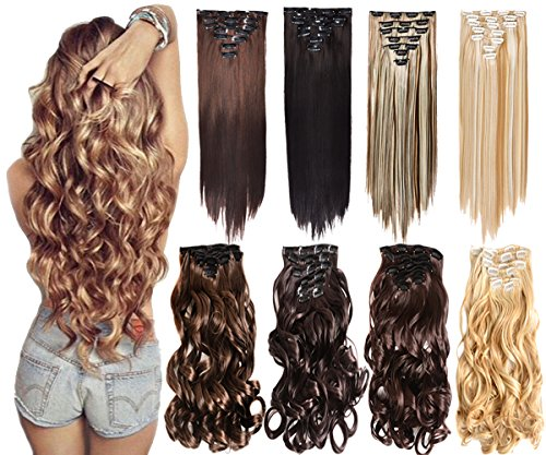 "7Pcs 16 Clips 20-24 Inch Thick Double Weft Full Head Clip in Hair Extensions Curly Straight Wavy Hairpiece 8 colors (20"" Body Wave, #27H613 Blonded)"