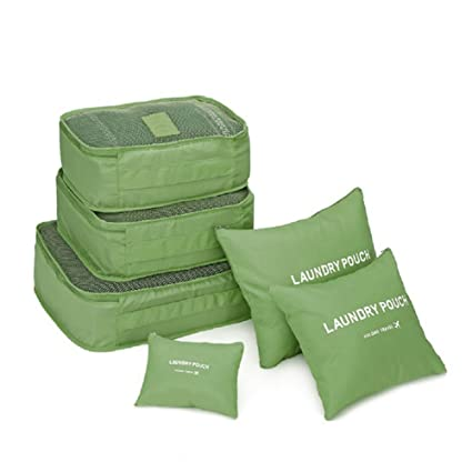 41e41e15adc 6 PCS Travel Storage Bags Set Clothes Tidy Packing Cubes Luggage Organizer  Pouch Waterproof (Green)