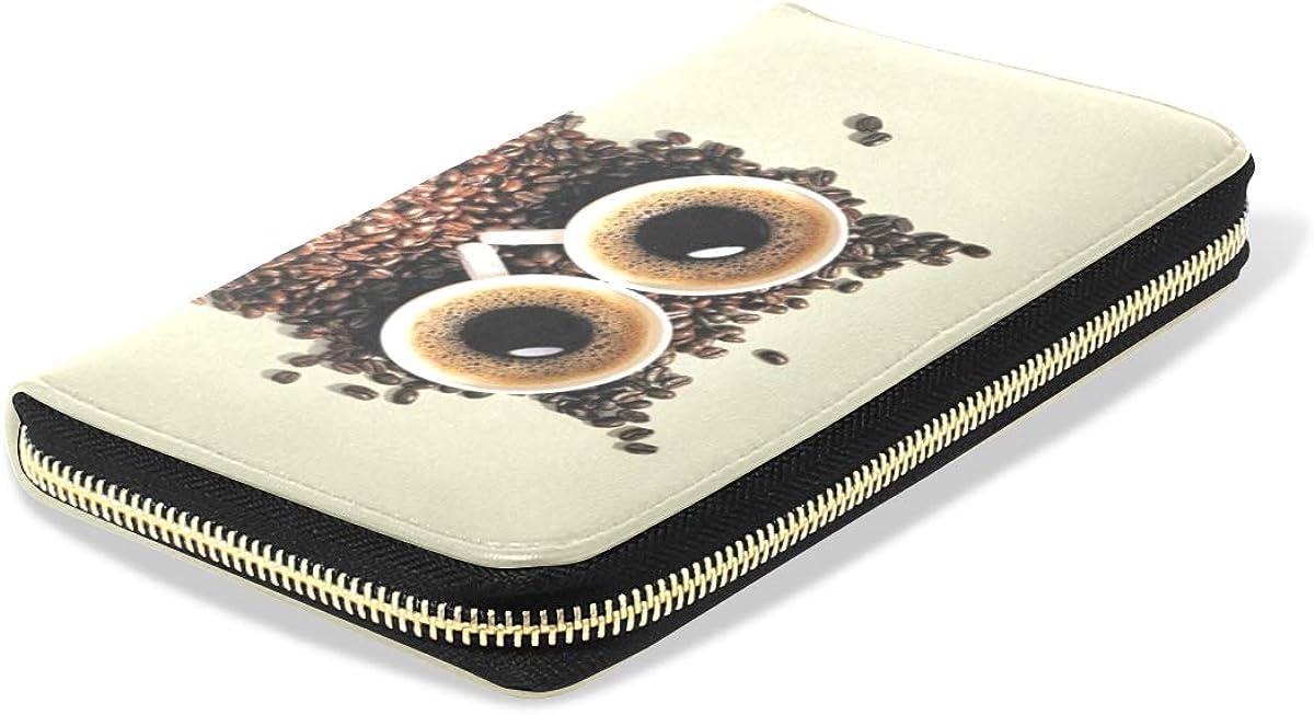 Coffee Bean Combination Owl Women Wallet RFID Zip Long Wallets Phone Travel Card Holder Purse Clutch Multi Card Case