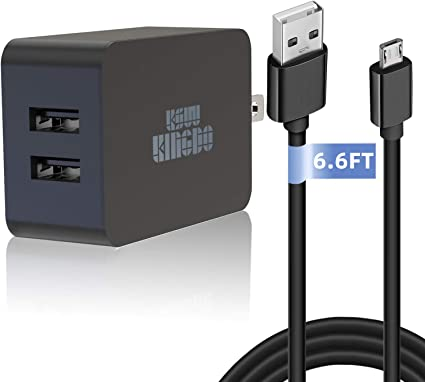 Amazon Com Kindle Fire Fast Charger 5v 2 4a 24w Charger For Amazon Kindle Fire Hd Hdx 6 7 8 9 9 7 Fire 7 8 Dual Port Usb Wall Charger With 6 6ft Micro Usb Cable