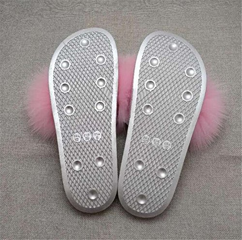 Glissent MSFS sur Fourrure Plumes Ouvert à Femmes Pantoufles Pink Sandales Bout des Multicolores 0q0wFp