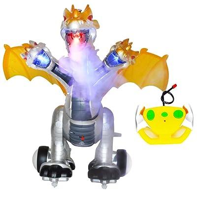 SOWOFA Prehistoric Beast Remote Control Three Heads Dragon Dinosaur Simulated Flame Walking Shaking Light Up Eyes: Toys & Games