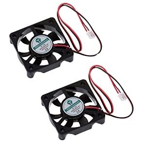 Anmbest 2PCS 5010 Silent Brushless Cooling Fan 2 pin Brushless 5CM Fans DC 12V 0.1A 50mm X 50mm X 10mm for Cool 3D Printers Parts PC Case CPU Cooler Sleeve Bearing 7 Blades