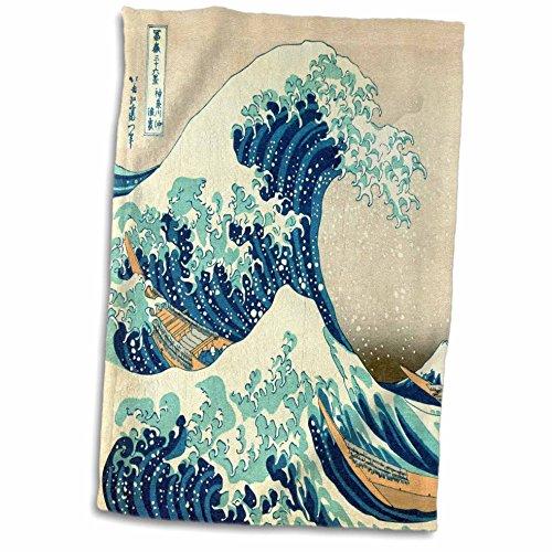 3D Rose The The Wave Off Kanagawa by Japanese Artist Hokusai - Dramatic Blue Sea Ocean Ukiyo-E Print 1830