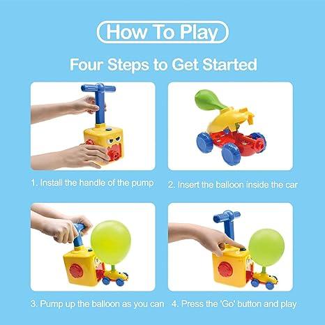 BAKAM Power Balloon Car Toy for Kids, Balloon Powered Car Children's Science Toy, Inflatable STEM Balloon Pump Cars Racer Kit for Boys Girls
