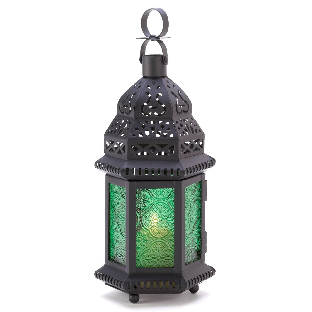 Gifts & Decor Green Glass Moroccan Candle Holder Hanging Lantern Furniture Creations 13244