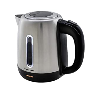 Ovente 1.7 Liter BPA Free Stainless Steel Cordless Tea Electric Kettle (Left/Right Handed, Brushed) (KS27S)