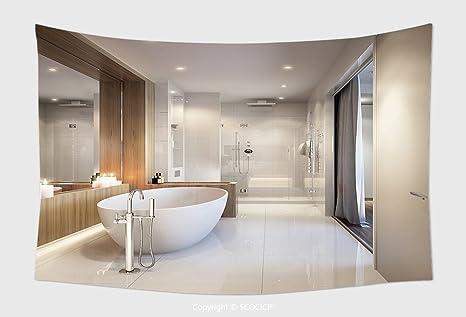 Bagno Moderno Con Vasca Da Bagno : Home decor arazzo da parete spaziosa e mattonelle bianco brillante