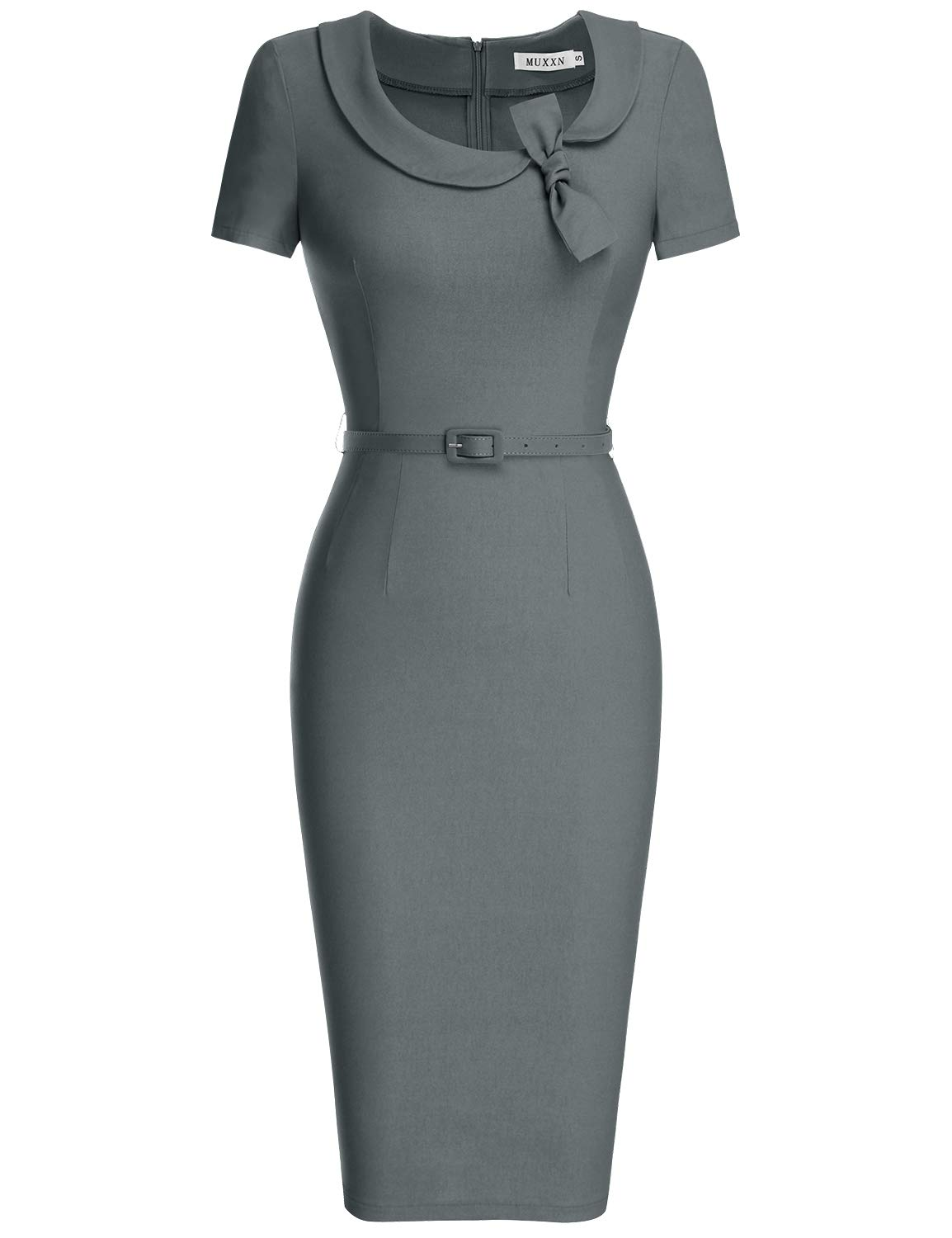 MUXXN Women's Pinup 1950s Style Cut Out Neck High Stretchy Formal Dress (3XL, Gray)