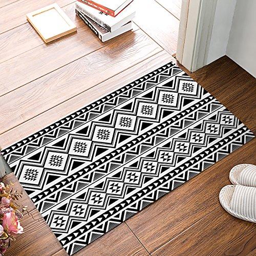 Black White Door Rug Tribal Navajo Pattern Doormats Abstract Geometric Floor Decor 15.7x23.6 Inch