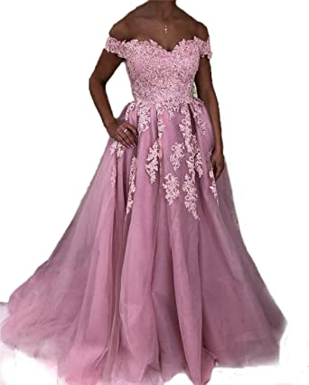 Graceprom Womens Off Shoulder Evening Dress Pink Lace Appliques Prom Dress 2