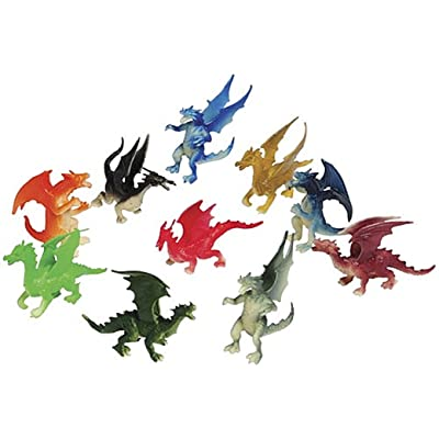 "Just4fun 3 Dozen (36) Mini Dragon Toy Figures - 2"" Party Favors - Prizes - Fantasy - Pretend Play Mythical: Toys & Games"
