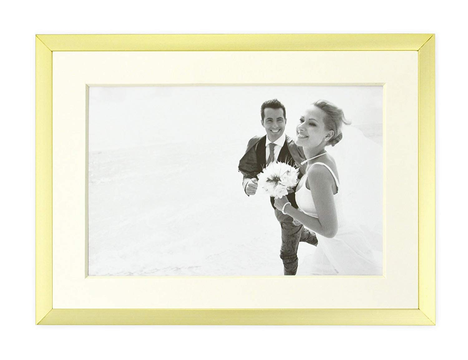 5x7-Table Top 1 Metal Wall Photo Frame Collection Golden State Art Aluminum Gold Photo Frame with Ivory Color Mat for Picture /& Real Glass