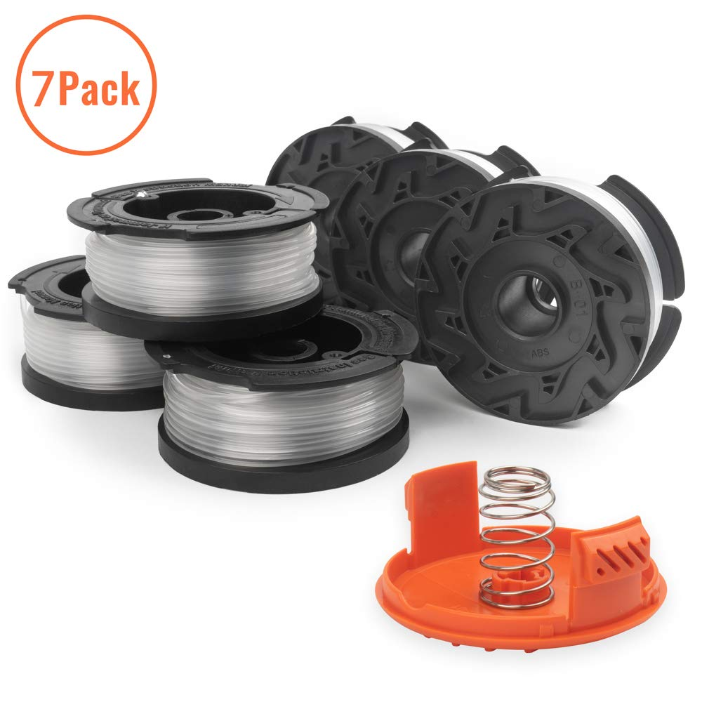 "X Home String Trimmer Spools Compatible with Black and Decker AF-100 Weed Eater Spools Refills Line Autofeed 30ft 0.065"" GH600 GH900 Edger with RC-100-P Spool Cap Covers (6 Spools, 1 Cap,1 Spring)"
