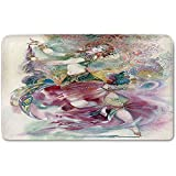 Memory Foam Bath Mat,Watercolor,Oriental Dance Theme Young Girl Performing in Traditional Costume Fantasy FigurePlush Wanderlust Bathroom Decor Mat Rug Carpet with Anti-Slip Backing,Multicolor