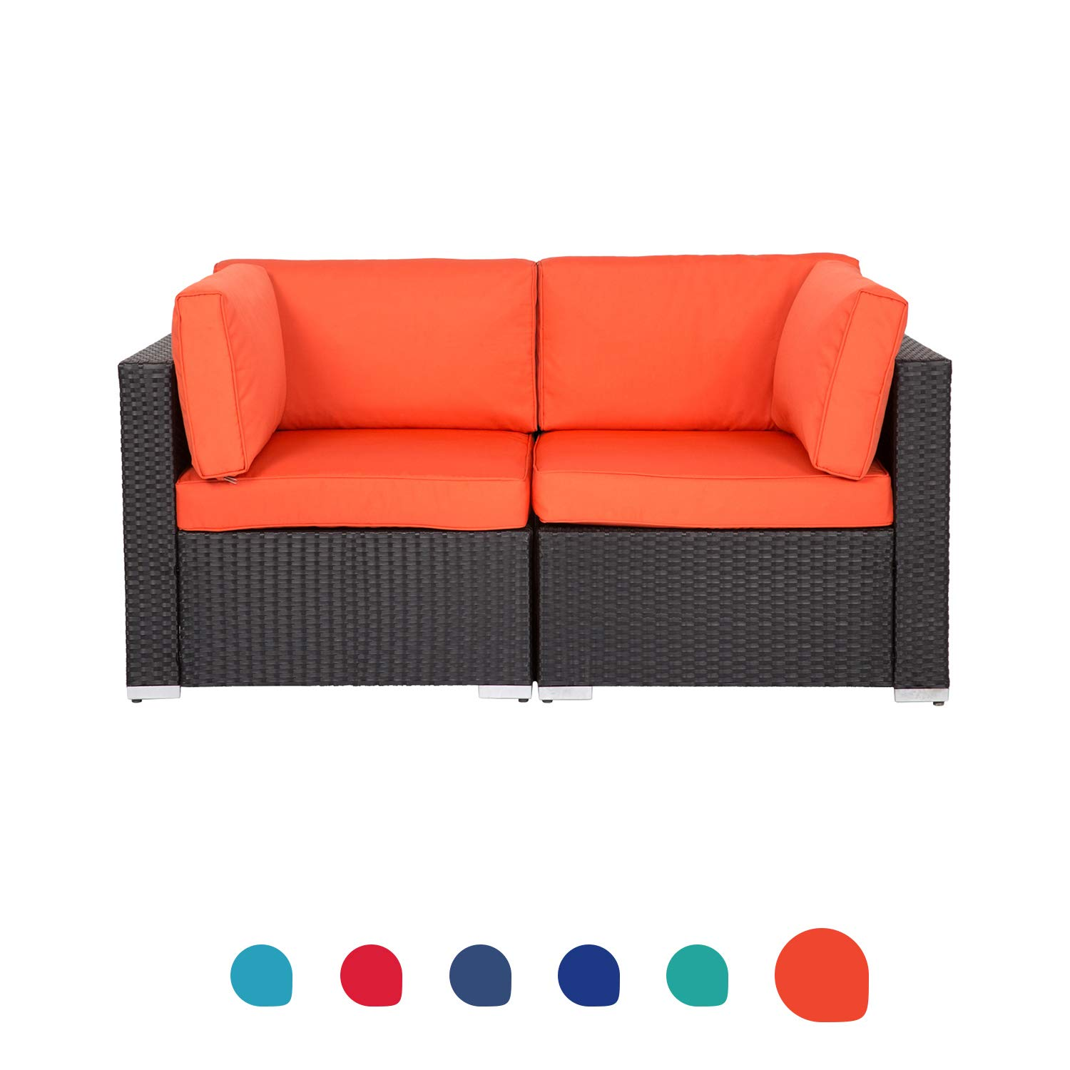 Peach Tree Wicker Loveseats Patio Sectional Corner Sofa All Weather Rattan Outdoor Thick Cotton Sofa Set