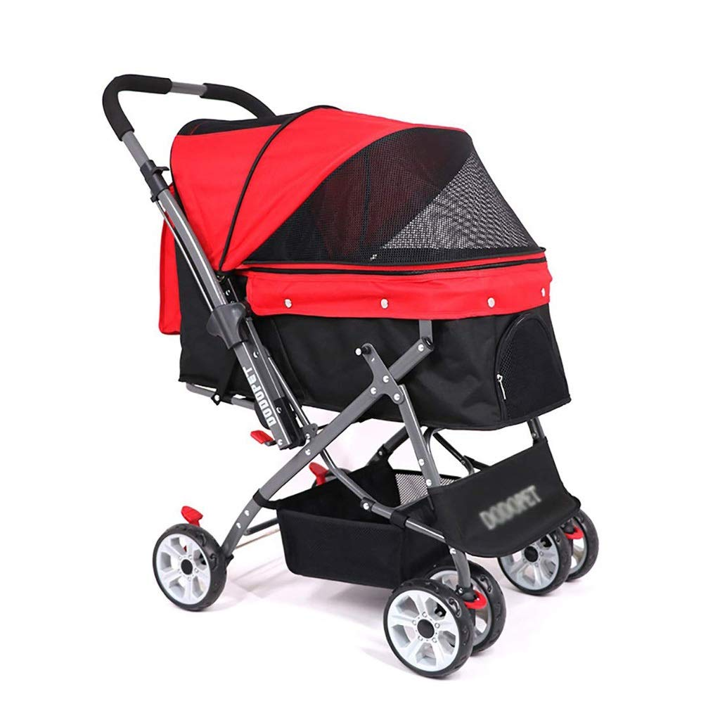 Red Sdvh Pet Stroller, Dog Trolley Cat Cages Crates Carriers Carrier Big Space Portable Folding Four Rounds One-Key Closed Car (color   Red)