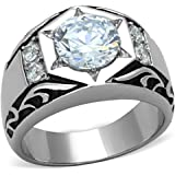 ISADY - Austen - Men's Ring - stainless steel - Cubic Zirconia Clear
