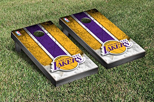 Los Angeles LA Lakers NBA Basketball Cornhole Game Set Vintage Version by Victory Tailgate