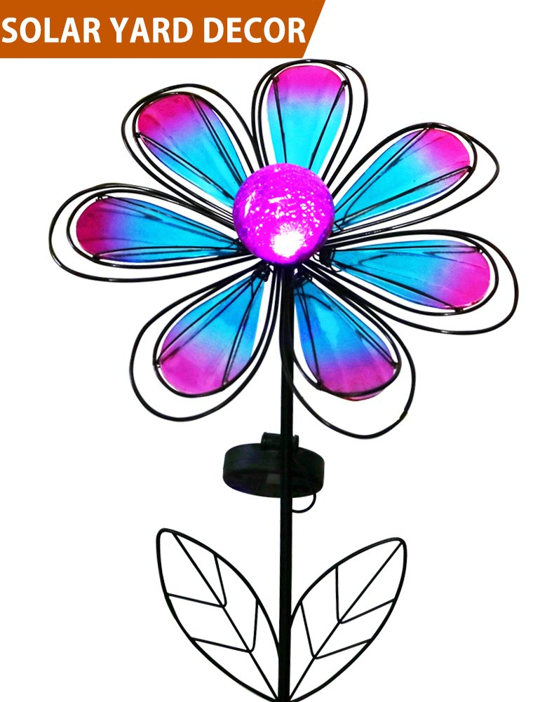 Bright Zeal 12'' Wide Metal & Glass Flower LED Solar Garden Stake Lights (Blue & Purple, Crackle Glass Globe, Metal Frame) - Outdoor Landscape Lighting - Solar Lights Outdoor - Yard Decorations 23211
