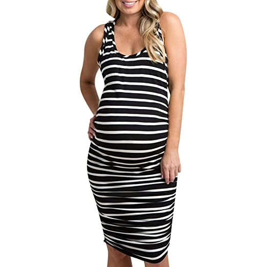 8f69aa3b5f896 Women's Loose Striped Sleeveless Maternity Tank Dress Ruched Side Bodycon  Pregnancy Casual Dresses Knee Length Black