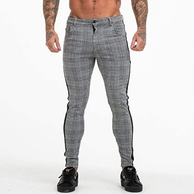 Mens Casual Plaid Slim Fit Trousers Formal British Pants Cropped Suit Trousers