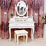Tribesigns Makeup Vanity Table Set Bedroom Dressing Table with Stool and...