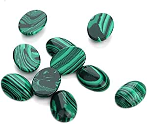 8pcs Lab Created Malachite Oval Cabochon Flatback Gemstone Cabochons 18x13mm GO52