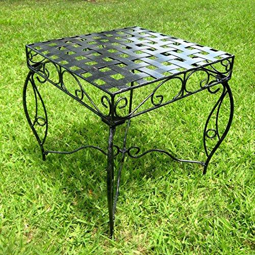 (Iron Side Table - Lattice (Black Pewter) (22