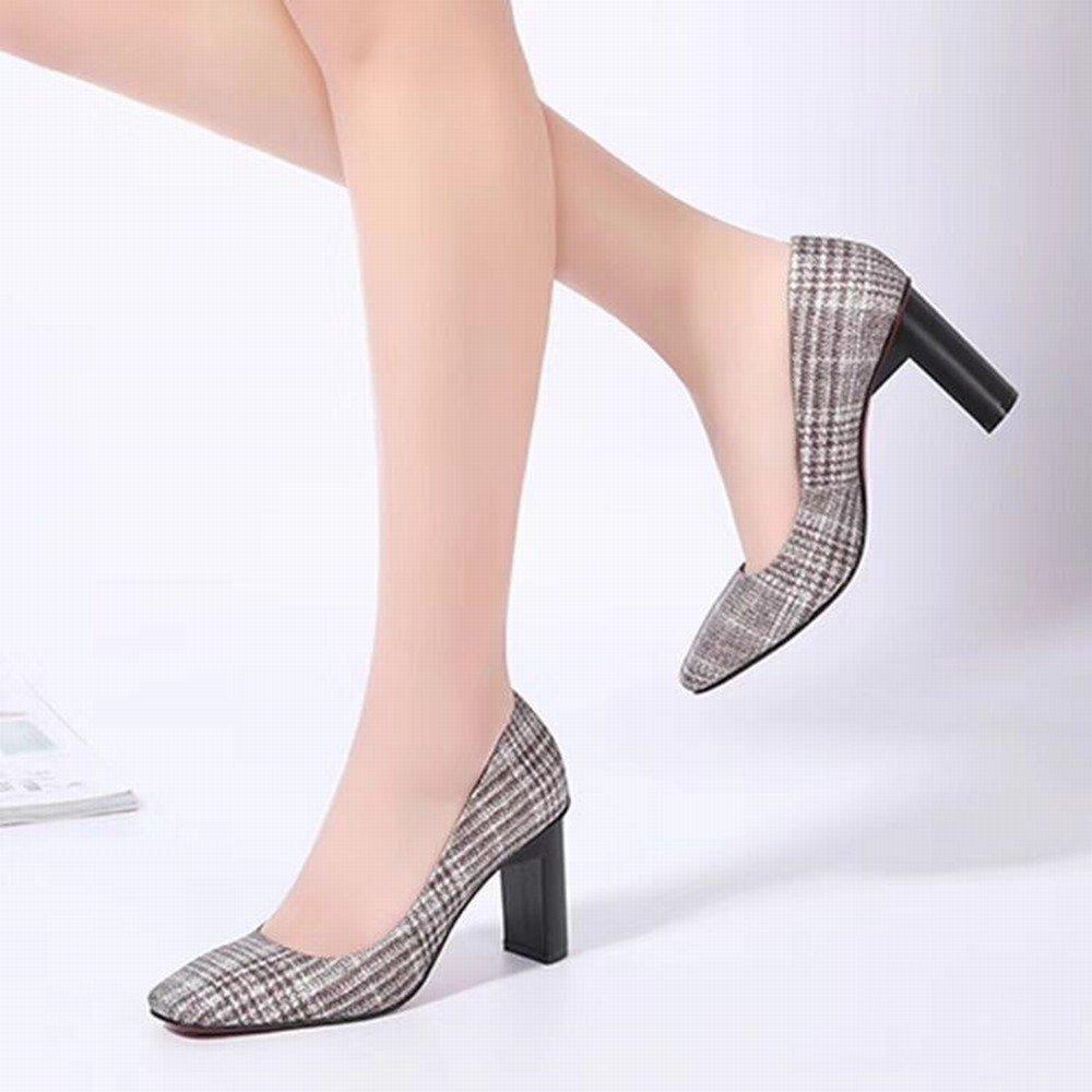 WU Japanische und Koreanische Mode Schuhe Frühjahr und Sommer Rau Frauen 'S Quadrat Rau Sommer mit Hochwertigen Leder Schuhe Frauen' S Schuhe High Heels 03a71d